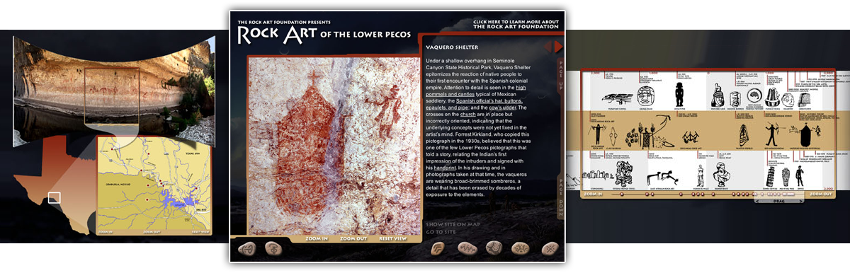 screenshots from rock art of the lower pecos cdrom